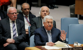 Palestinian President Mahmoud Abbas speaks during a meeting of the United Nations (UN) Security Council at UN headquarters in New York, U.S., February 20, 2018
