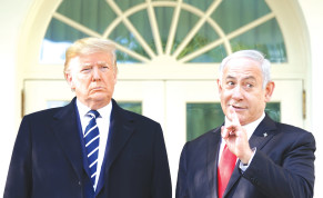 JUST GIVE HIM one more chance. Prime Minister Benjamin Netanyahu and President Donald Trump at the White House this week.