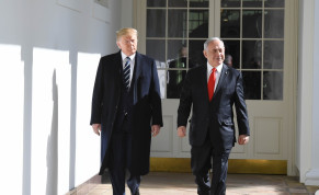 President Donald Trump and Prime Minister Benjamin Netanyahu at the White House on January 28