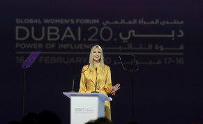 US White House senior adviser Ivanka Trump delivers the keynote address during the Global Women's Forum in Dubai, United Arab Emirates, February 16, 2020.