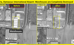 Heavy damages in headquarters and warehouses at Damascus International Airport in Syria.