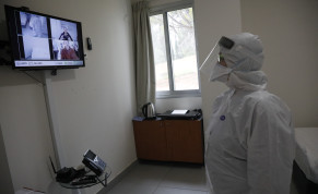 An employee at Sheba Medical Center at Tel Hashomer testing the special area where the Israelis who were aboard the Diamond Princess cruise ship will be kept in quarantine