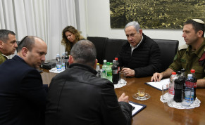 Prime Minister Benjamin Netanyahu holds a briefing with Defense Minister Naftali Bennett and IDF heads during the latest escalation with Gaza
