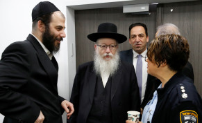 Israeli Health Minister Yaakov Litzman arrives for a situation assessment meeting regarding the novel coronavirus, at the Health Ministry in Tel Aviv, Israel February 23, 2020