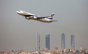 An El Al Israel Airlines Boeing 737-900ER airplane takes off from the Adolfo Suarez Madrid-Barajas airport as seen from Paracuellos del Jarama, outside Madrid, Spain, August 8, 2018