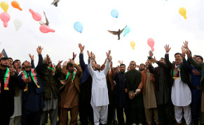 Afghan men celebrate in anticipation of the U.S-Taliban agreement to allow a U.S. troop reduction and a permanent ceasefire, in Jalalabad, Afghanistan February 28, 2020. Picture taken February 28, 2020