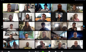 Some of 208 monday.com employees participate in a Zoom video conference this week
