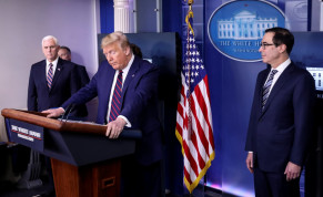 US President Donald Trump addresses the daily coronavirus response briefing as Vice President Mike Pence and Treasury Secretary Steven Mnuchin listen at the White House in Washington, US, April 2, 2020
