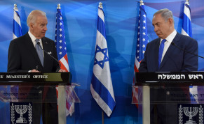 Then-US Vice President Joe Biden (L) and Israeli Prime Minister Benjamin Netanyahu look at each other as they deliver joint statements during their meeting in Jerusalem March 9, 2016