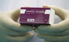 "A lab technicians holds the coronavirus disease (COVID-19) treatment drug ""Remdesivir"" at Eva Pharma Facility in Cairo, Egypt June 25, 2020."