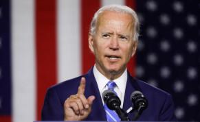 Democratic US presidential candidate Joe Biden at a campaign event in Wilmington, Delaware, U.S., July 14, 2020.