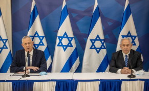 Israeli prime minister Benjamin Netanyahu and Alternate Prime Minister and Minister of Defense Benny Gantz hold a press conference in Tel Aviv on July 27, 2020.