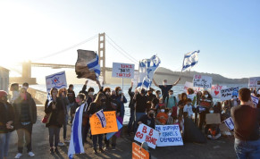 Demonstrators in San Francisco protest against Prime Minister Benjamin Netanyahu near the Golden Gate bridge.