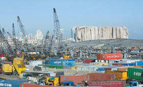 THE DIFFICULT humanitarian situation in Beirut will probably lead to the cancellation of more attacks that Hezbollah planned to carry out against Israel. Photographed: A view of shipping containers at the damaged site of last week's blast in Beirut's port area.