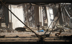 A member of the army is seen at the site of Tuesday's blast in Beirut's port area, Lebanon August 8, 2020.