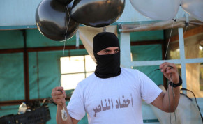 Gaza balloon units prepare incendiary and explosive balloons to launch towards Israel, August 2020