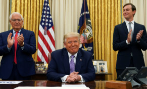 U.S. Ambassador to Israel David Melech Friedman and White House senior adviser Jared Kushner applaud after U.S. President Donald Trump announced a peace deal between Israel and the United Arab Emirates from the Oval Office of the White House in Washington, U.S., August 13, 2020