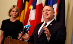 U.S. Secretary of State Mike Pompeo speaks to reporters following a meeting with members of the U.N. Security Council about Iran's alleged non-compliance with a nuclear deal and calling for the restoration of sanctions against Iran as U.S. Ambassador to the United Nations Kelly Craft listens at U.N.