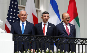 Israel's Prime Minister Benjamin Netanyahu, United Arab Emirates (UAE) Foreign Minister Abdullah bin Zayed and Bahrain's Foreign Minister Abdullatif Al Zayani standby prior to signing the Abraham Accords with US President Donald Trump at the White House in Washington, US, September 15, 2020.