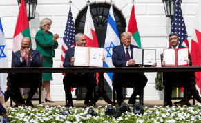 L to R: Bahrain's Foreign Minister Abdullatif Al Zayani, Israel's Prime Minister Benjamin Netanyahu, US President Donald Trump and United Arab Emirates (UAE) Foreign Minister Abdullah bin Zayed participate in the signing of the Abraham Accords. September 15, 2020