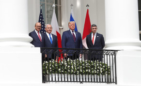 Abdullatif Al Zayani, Benjamin Netanyahu, Donald Trump, and Abdullah bin Zayed sign the Abraham Accords