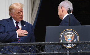 President Donald Trump talks to Israeli Prime Minister Benjamin Netanyahu from the Truman Balcony at the White House during the signing ceremony of the Abraham Accords, Sept. 15, 2020
