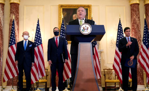 U.S. Secretary of State Mike Pompeo speaks next to Commerce Secretary Wilbur Ross, Treasury Secretary Steve Mnuchin, and Defense Secretary Mark Esper, during a news conference to announce the Trump administration's restoration of sanctions on Iran, at the U.S. State Department in Washington, U.S., S