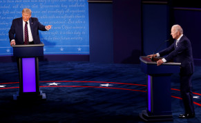 US President Donald Trump and Democratic presidential nominee Joe Biden participate in their first 2020 presidential campaign debate held on the campus of the Cleveland Clinic at Case Western Reserve University in Cleveland, Ohio, US, September 29, 2020.