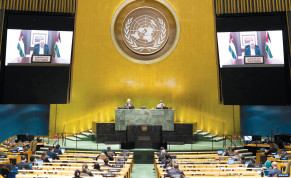 PALESTINIAN PRESIDENT Mahmoud Abbas speaks virtually during the 75th annual UN General Assembly, last month.