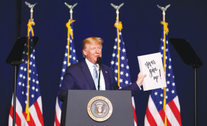 US President Donald Trump addresses Evangelical supporters in Miami in January.