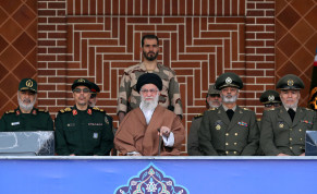 Iran's Supreme Leader Ayatollah Khamenei surrounded by military officials