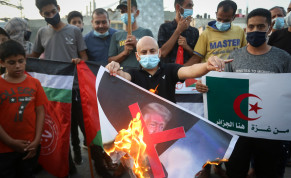 Palestinians protest against Israel deals with the United Arab Emirates and Bahrain, in Rafah in the southern Gaza Strip, on September 23, 2020.