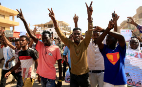 Sudanese protesters chant slogans as they gather ahead of a rally to put pressure on the government to improve conditions and push ahead with reform in Khartoum, Sudan October 21, 2020.
