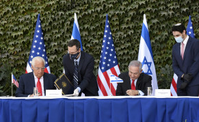 U.S Ambassador to Israel David M. Friedman and Israeli Prime Minister Benjamin Netanyahu sign agreements to further binational scientific and technological cooperation in a special ceremony held at Ariel University on October 28, 2020.