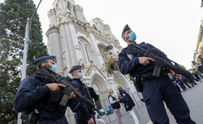 Police officers stand near Notre Dame church, where a knife attack took place, in Nice, France October 29, 2020.