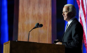 Democratic 2020 US presidential nominee Joe Biden speaks at his election rally, after news media announced that Biden has won the 2020 U.S. presidential election, in Wilmington, Delaware, US, November 7, 2020