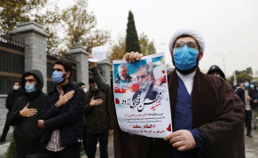 Protesters gather during a demonstration against the killing of Mohsen Fakhrizadeh, Iran's top nuclear scientist, in Tehran, Iran, November 28, 2020.