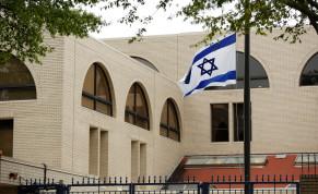Israeli flag flies at the Israeli Embassy in Washington