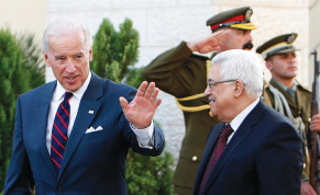 THEN-US vice president Joe Biden gestures as he walks with Palestinian Authority President Mahmoud Abbas after their meeting in Ramallah in 2010.