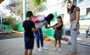 Children begin school in Jerusalem on November 1, 2020 after a lockdown.