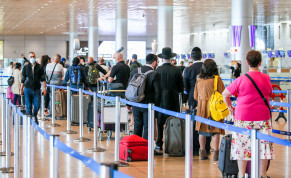 Passengers at the Departure hall at the Ben Gurion Airport, near Tel Aviv on December 14, 2020.