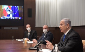 Prime Minister Benjamin Netanyahu is seen in a video conference with other world leaders discussing an international vaccine initiative, on January 18, 2021.
