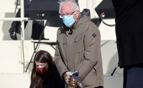 Senator Bernie Sanders (D-VT) arrives before the inauguration of Joe Biden as the 46th President of the United States