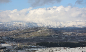 View of Mount Hermon covered with snow as it seen from the northern Golan Heights, near the border with Syria, January 20, 2021.