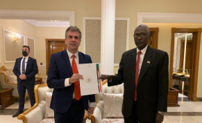 Intelligence Minister Eli Cohen signs an MOU with Sudan's Defense Minister Yassin Ibrahim Yassin