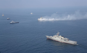 Iranian warships are seen during a joint naval exercise with Russian navy in the Indian Ocean