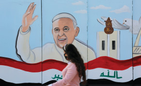 A MURAL of Pope Francis adorns a church wall ahead of his upcoming visit to Iraq, in Baghdad on February 22.