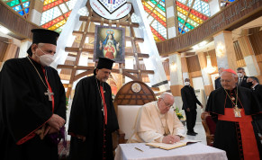 Pope Francis meets with with bishops, priests, seminarians and catechists at the Syro-Catholic Cathedral of 'Our Lady of Salvation' in Baghdad, Iraq March 5, 2021.