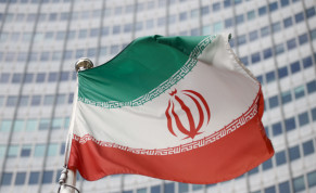 The Iranian flag waves in front of the International Atomic Energy Agency (IAEA) headquarters, before the beginning of a board of governors meeting, amid the coronavirus disease (COVID-19) outbreak in Vienna, Austria, March 1, 2021.