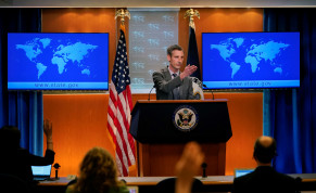 US State Department spokesman Ned Price takes questions from reporters at the State Department in Washington, US, March 31, 2021.